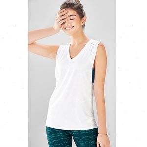 Fabletics Taryn Ultra Light V-Neck Tank White XL